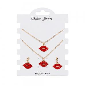 Creative Models Red Sexy Lips Necklace Earrings Bracelet Jewelry Set -