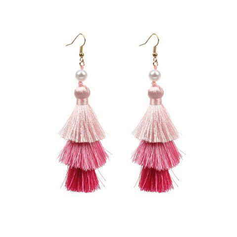 Sale Ethnic Style Bohemian Jewelry Multi-layered Color Gradient Tassel Pearl Earrings Long Women's Accessories