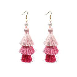 Ethnic Style Bohemian Jewelry Multi-layered Color Gradient Tassel Pearl Earrings Long Women's Accessories -