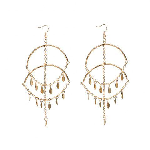 Trendy Exaggerated Handmade Jewelry Leaves Multi-tassel Sexy Big Circle Earrings