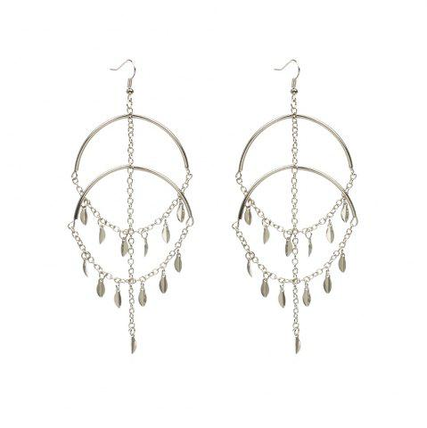 Unique Exaggerated Handmade Jewelry Leaves Multi-tassel Sexy Big Circle Earrings