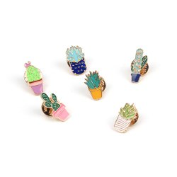 Cute Cartoon Plants Cactus Brooch Fashion Childlike Drops Oil Boutonniere Pin -