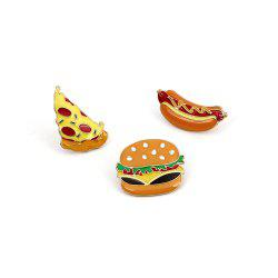 Cute Cartoon Pizza Hot Dog Burger Delicious Food Brooch Set -