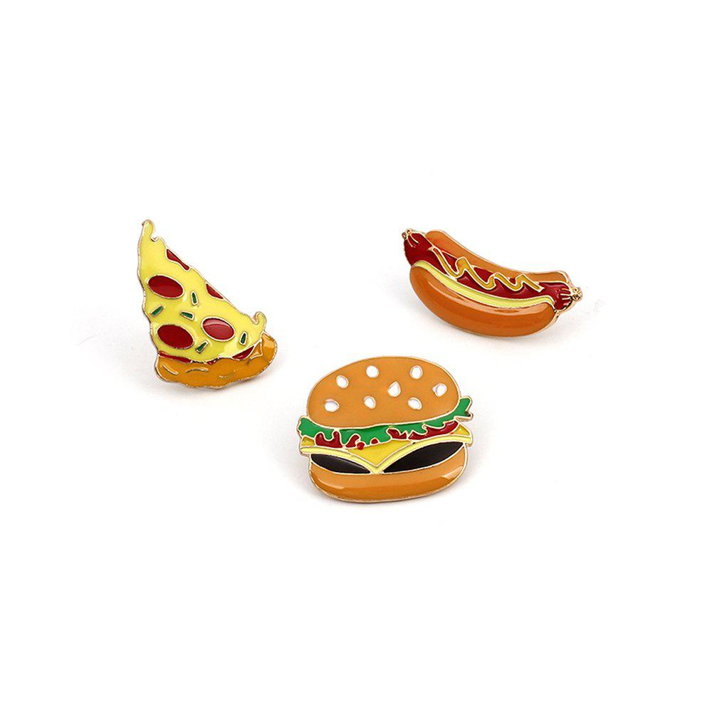 Shops Cute Cartoon Pizza Hot Dog Burger Delicious Food Brooch Set