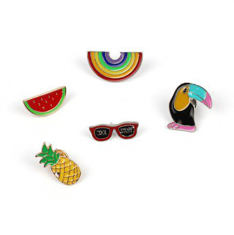 Hot Cute Cartoon Rainbow Watermelon Pineapple Woodpecker Creative Brooch