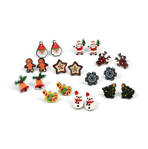 Trendy Christmas Earrings Snowflake Santa Female Combo Set Cute Cartoon Earrings