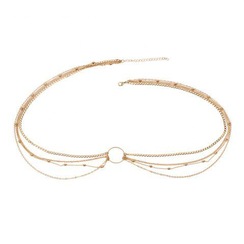 Outfit Fashion Simple Jewelry Geometric Circle Metal Multi-layered Waist Chain Women's Clothing Accessories