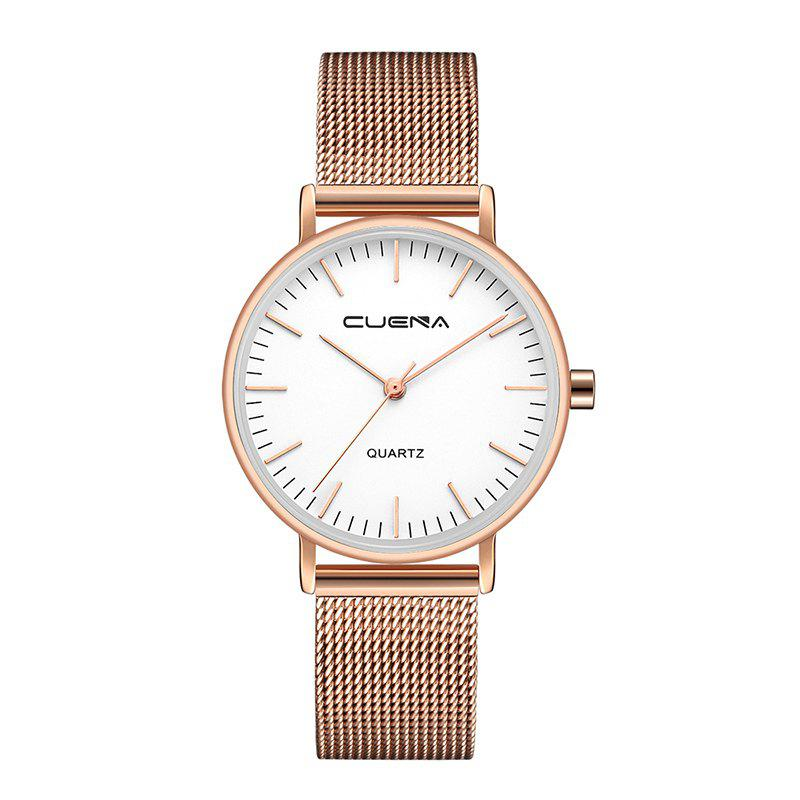 CUENA 6645G Women Casual Quartz Watch Stainless Steel Band WristwatchJEWELRY<br><br>Color: WHITE ROSE GOLD; Brand: CUENA; Watches categories: Female table,Women; Watch style: Casual,Childlike,Classic,Cool,Fashion,Lovely,Retro;