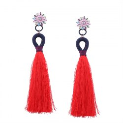 Ethnic Bohemia Diamond Tassel Cross Border Long Earring -