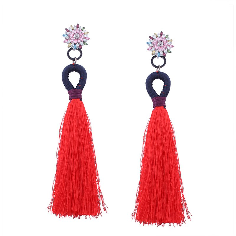 Latest Ethnic Bohemia Diamond Tassel Cross Border Long Earring
