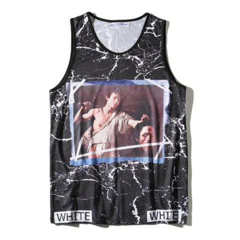 Affordable Men's Printed Marble Crack Printed Sports Tank Top