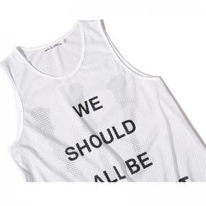Men's English Letters Printing Breathable Tank Top -