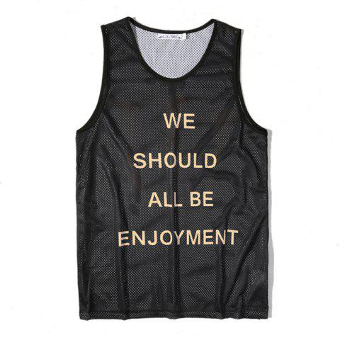 Best Men's English Letters Printing Breathable Tank Top