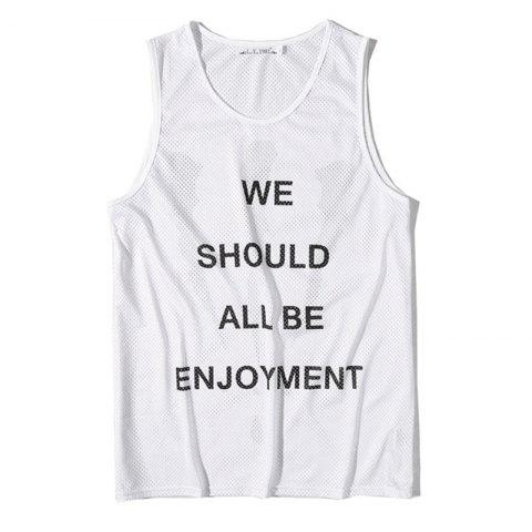Unique Men's English Letters Printing Breathable Tank Top