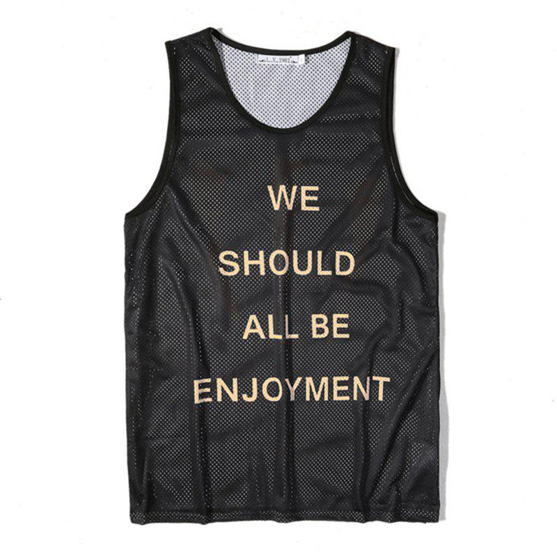 Latest Men's English Letters Printing Breathable Tank Top