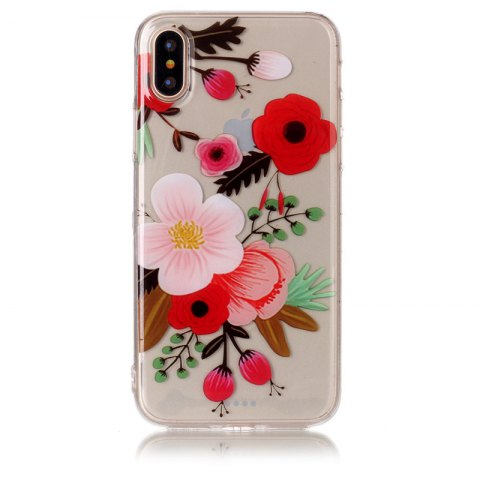 Fancy Flower Pattern Soft TPU Anti-scratch Back Cover Case for iPhone X