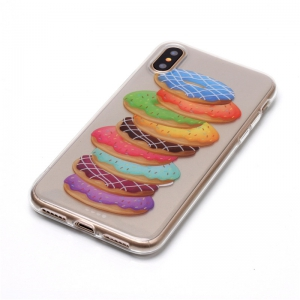 Doughnut Pattern Soft TPU Anti-scratch Back Cover Case for iPhone X -