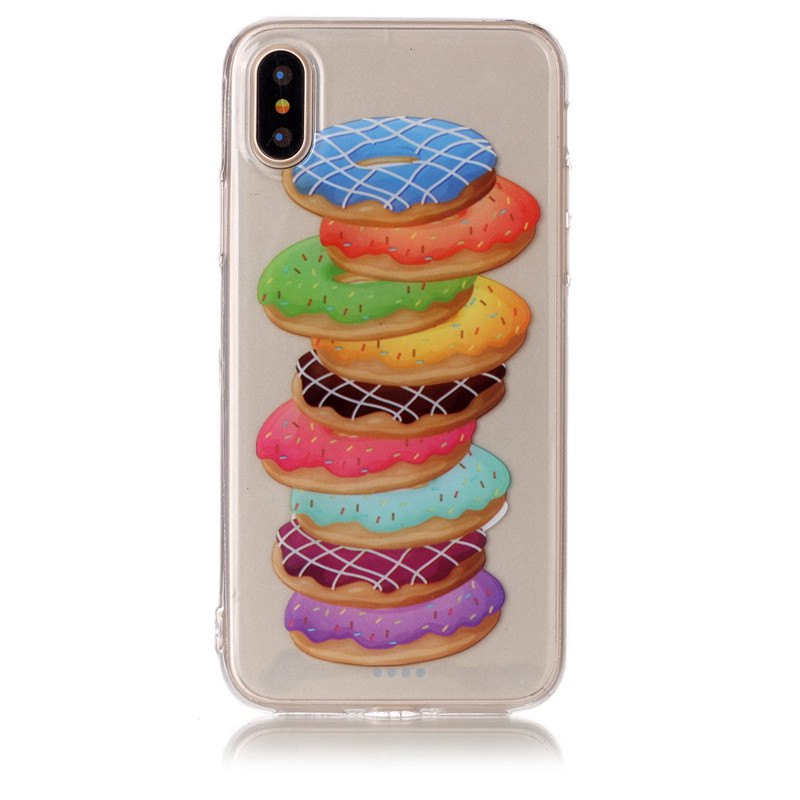 Shops Doughnut Pattern Soft TPU Anti-scratch Back Cover Case for iPhone X