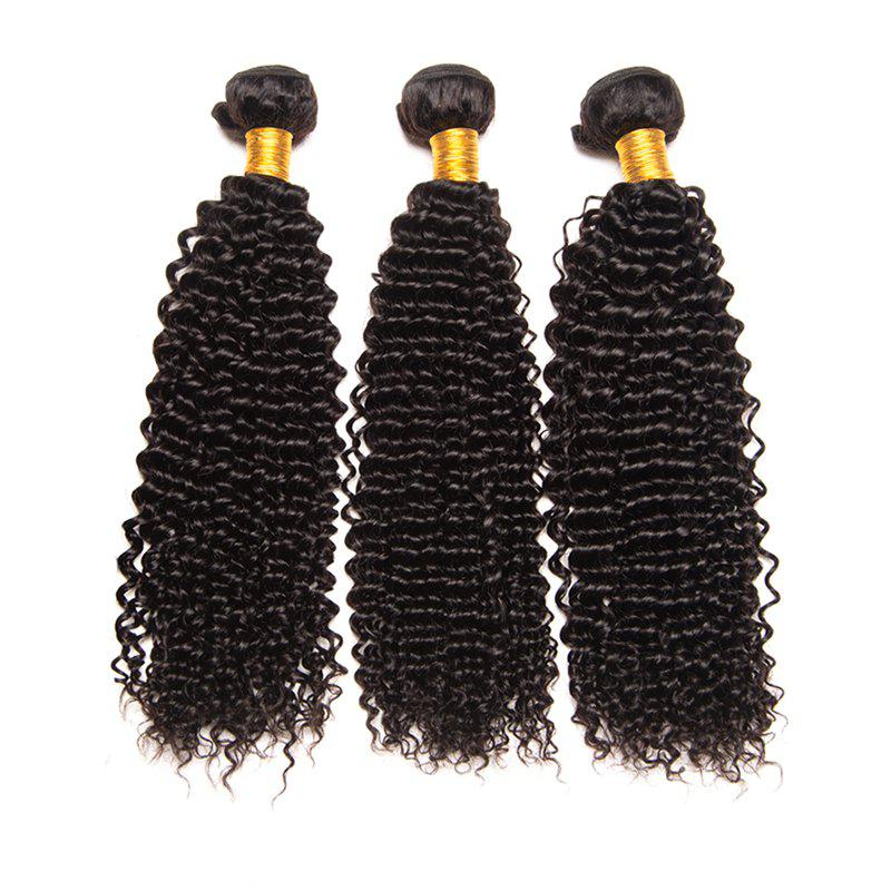 Virgin Brazilian Human Hair Weaves Kinky Curly Extension Natural Black Color 3pcs 8inch-28inchHAIR<br><br>Size: 10INCH*12INCH*12INCH; Color: BLACK;