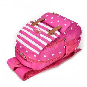 Striped Casual Shoulder Bag Wave Point Pattern Backpack -