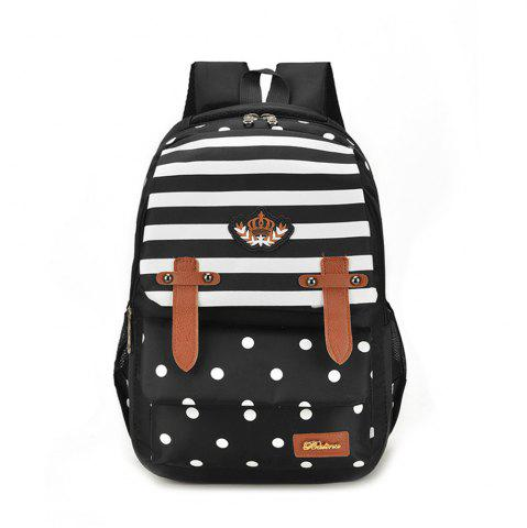 Chic Striped Casual Shoulder Bag Wave Point Pattern Backpack