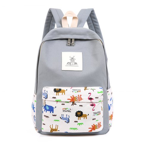 Store 3pcs Canvas Travel Backpack Colorful Cartoon Animal Printing Bags