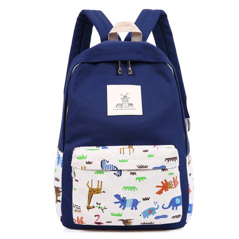 Shop 3pcs Canvas Travel Backpack Colorful Cartoon Animal Printing Bags