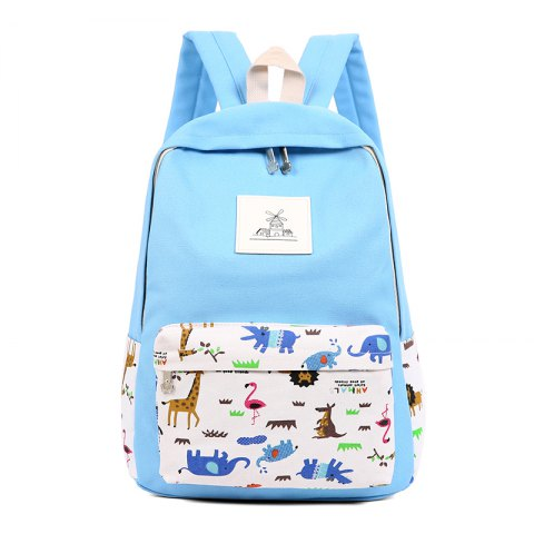Fancy 3pcs Canvas Travel Backpack Colorful Cartoon Animal Printing Bags