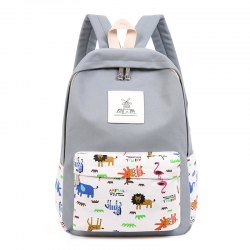 3pcs Canvas Travel Backpack Colorful Cartoon Animal Printing Bags -