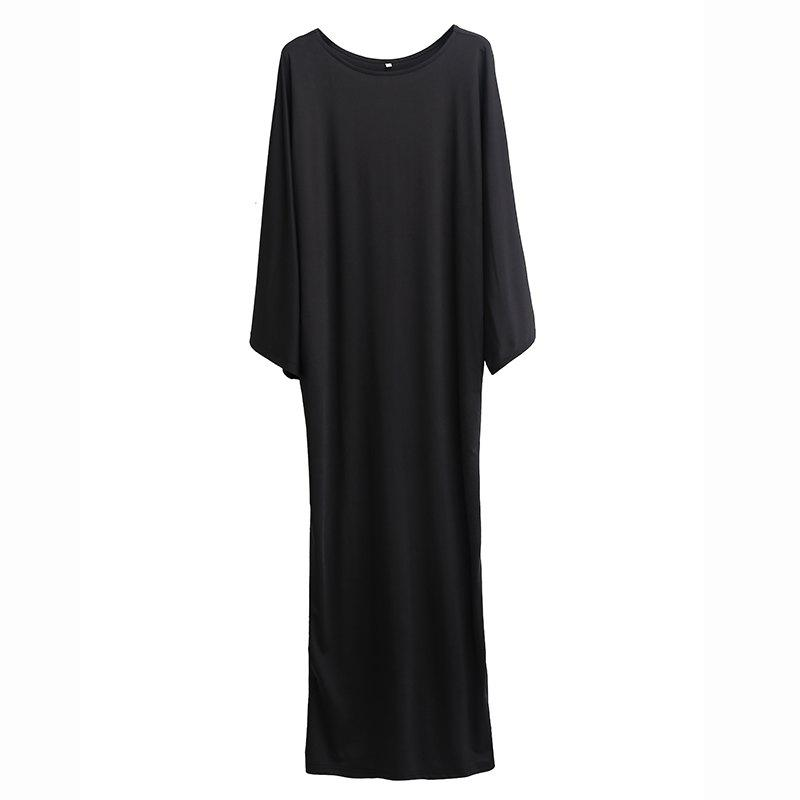 Cheap Pure Color  Bat Sleeve and Ankle Long Dress