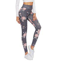 Flowers Printed Leggings Ladies Pencil Pants -