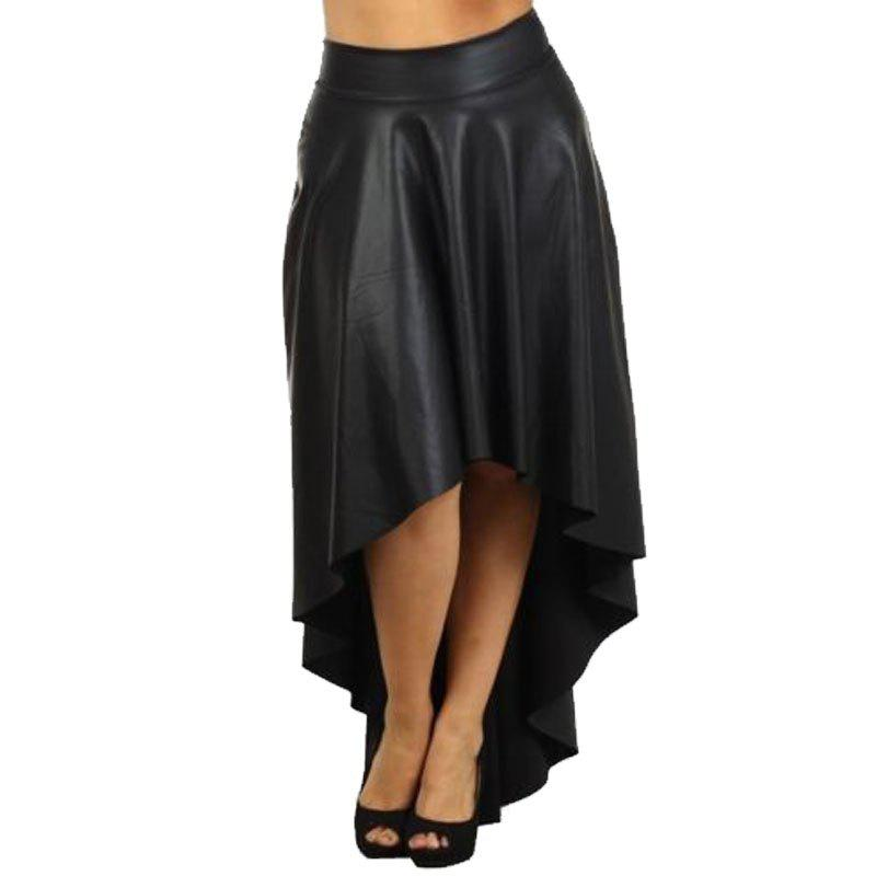 Fashion Women's High Low Solid Color Aline Skirt