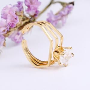 Geometry Hollow Out Openings Rings 18K Gold Plated Jewelry -