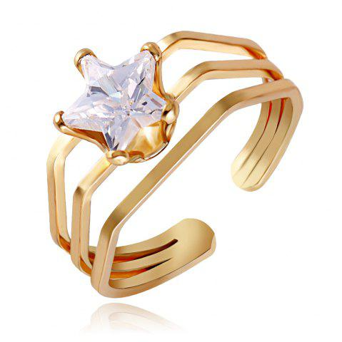 Geometry Hollow Out Openings Rings 18K Gold Plated Jewelry