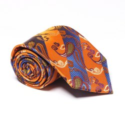 Yellow Blue Cashew Pattern Jacquard Necktie Party Business Formal Men's Tie -