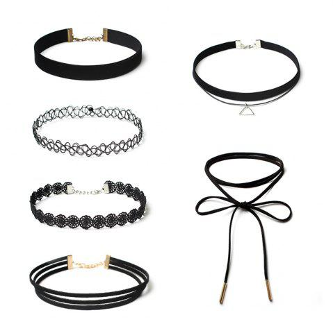 Simple Triangle Ornements Noir Ligne De Pêche Choker Bow Fleur Dentelle Velours Collier Ensemble