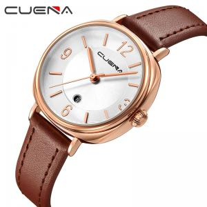 CUENA 6640P Fashion Genuine Leather Watchband Waterproof Women Quartz Watch -