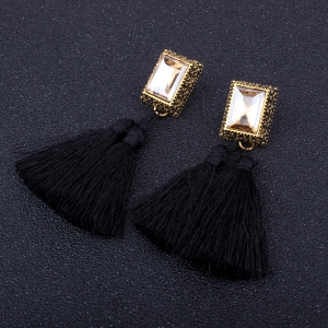 Fashion Drilling Square Crystal Tassels Long Drop Earrings -