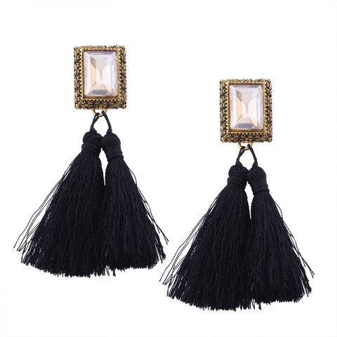 Fashion Fashion Drilling Square Crystal Tassels Long Drop Earrings