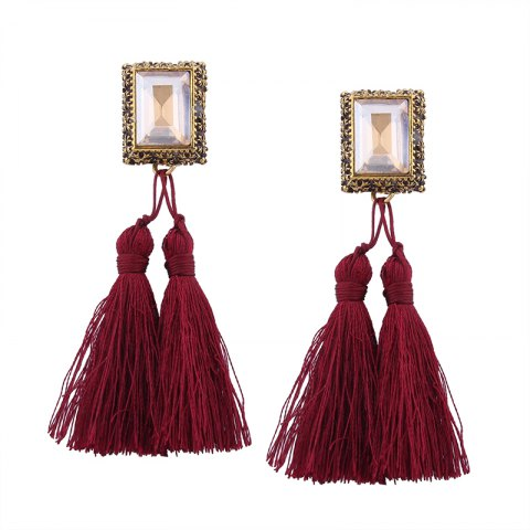 Unique Fashion Drilling Square Crystal Tassels Long Drop Earrings