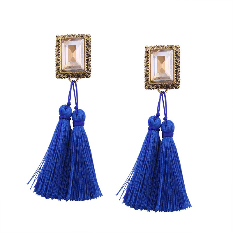 New Fashion Drilling Square Crystal Tassels Long Drop Earrings