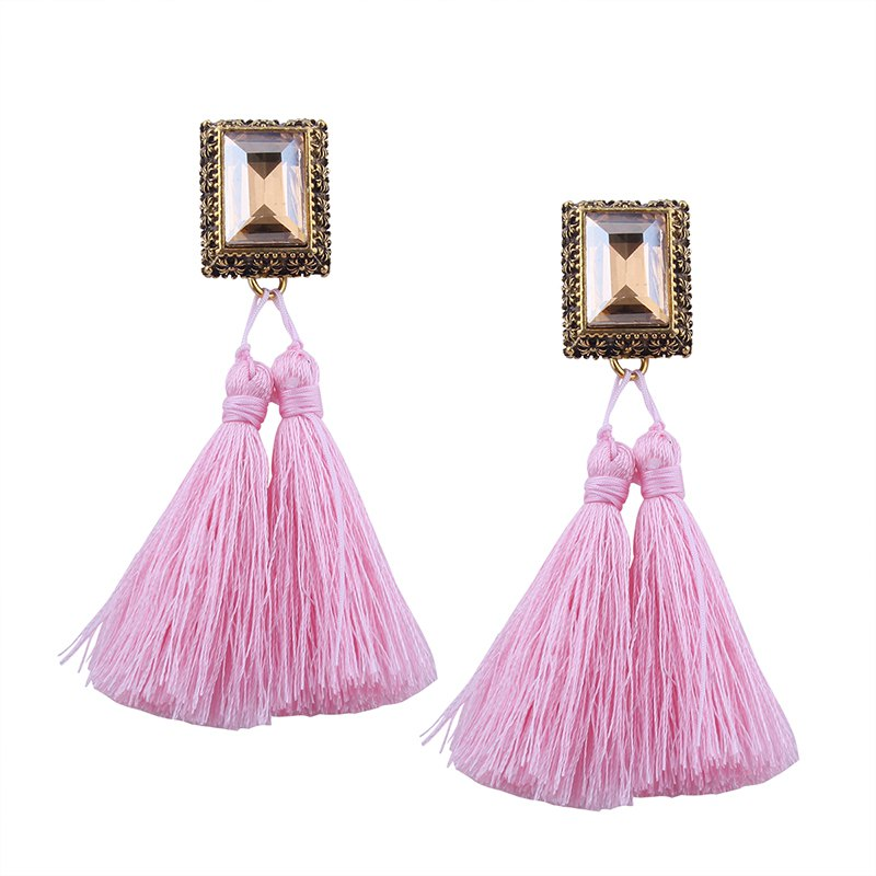 Shops Fashion Drilling Square Crystal Tassels Long Drop Earrings