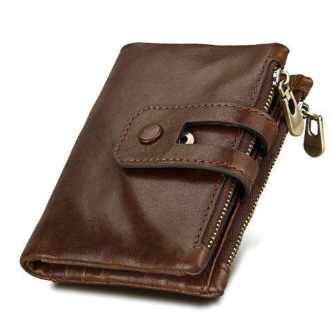 Online Short Genuine Leather Cowhide Men Wallet Business Card Coin Money Male Purse Card Holder