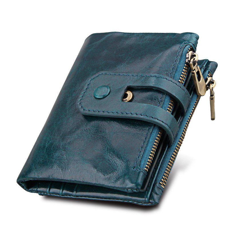 New Short Genuine Leather Cowhide Men Wallet Business Card Coin Money Male Purse Card Holder