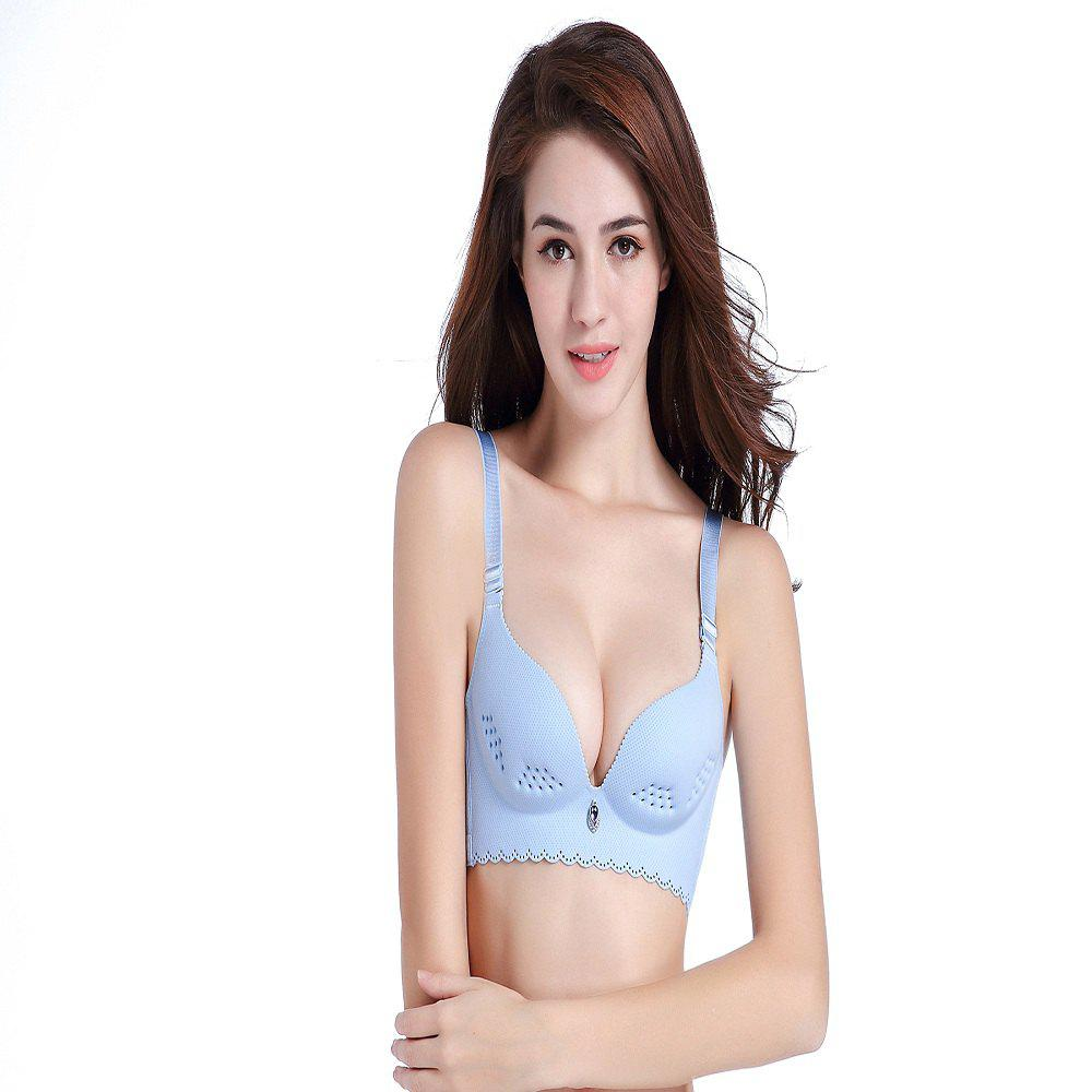 6ab503c188b20 Chic No Rims Bra Sexy Thin Type One Piece Seamless Adjustment Gather  Comfortable Breathable Holes of