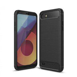 Leather Business Carbon Fiber Pattern PU Soft TPU Cover Case For LG Q6 -