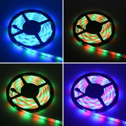 HML 5M RGB Waterproof LED Strip Light 2835 SMD 300 LEDs  with RF 10 Keys Remote Control and US Adapter -