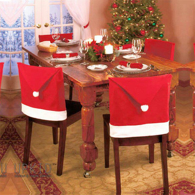 10pcs Christmas Decoration Red Hat Chair CoversHOME<br><br>Color: RED;