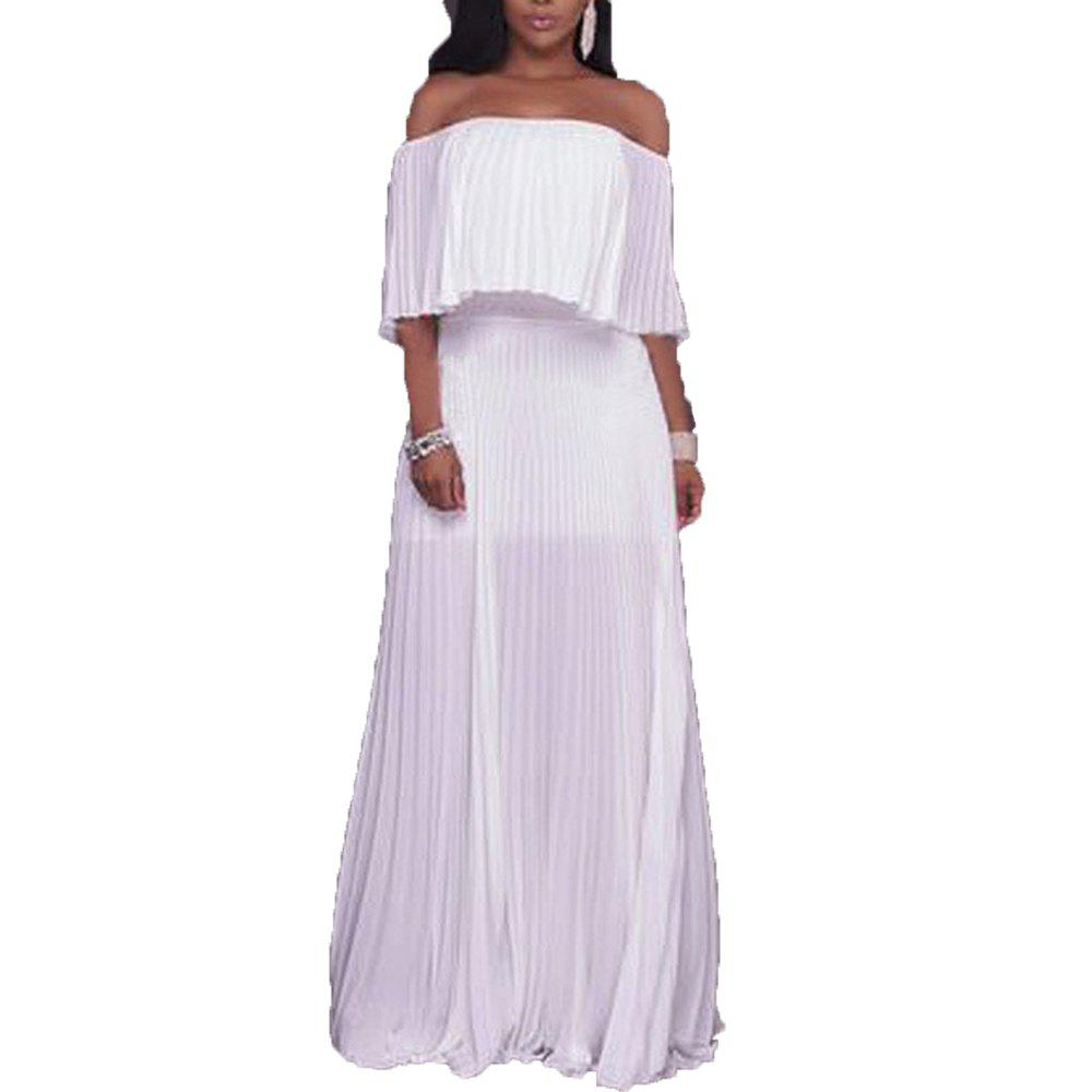 Hot 2017 New Type of Collar with Bare Shoulder Chiffon Dress