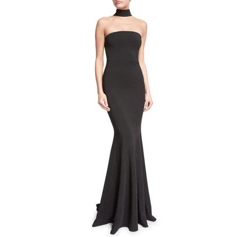 Trendy 2017 New Pure Color Hang Neck Evening Dress
